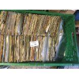 "Records : Box of 7"" singles - in heavy green box -"