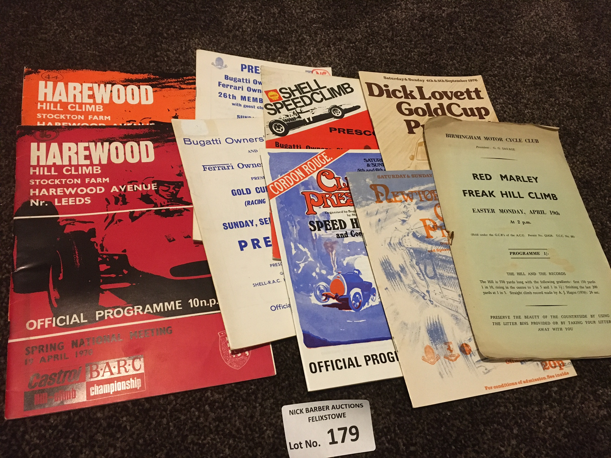 Motor Racing : Hill Climb programmes - Harewood Pr