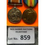 Militaria : WWI Pair of medals to Pte Harry Charle