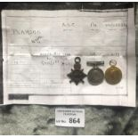 Militaria : WWI Trio of medals to Pte W G Pearso
