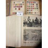 Stamps : Two 'the world' stamp albums - huge red v