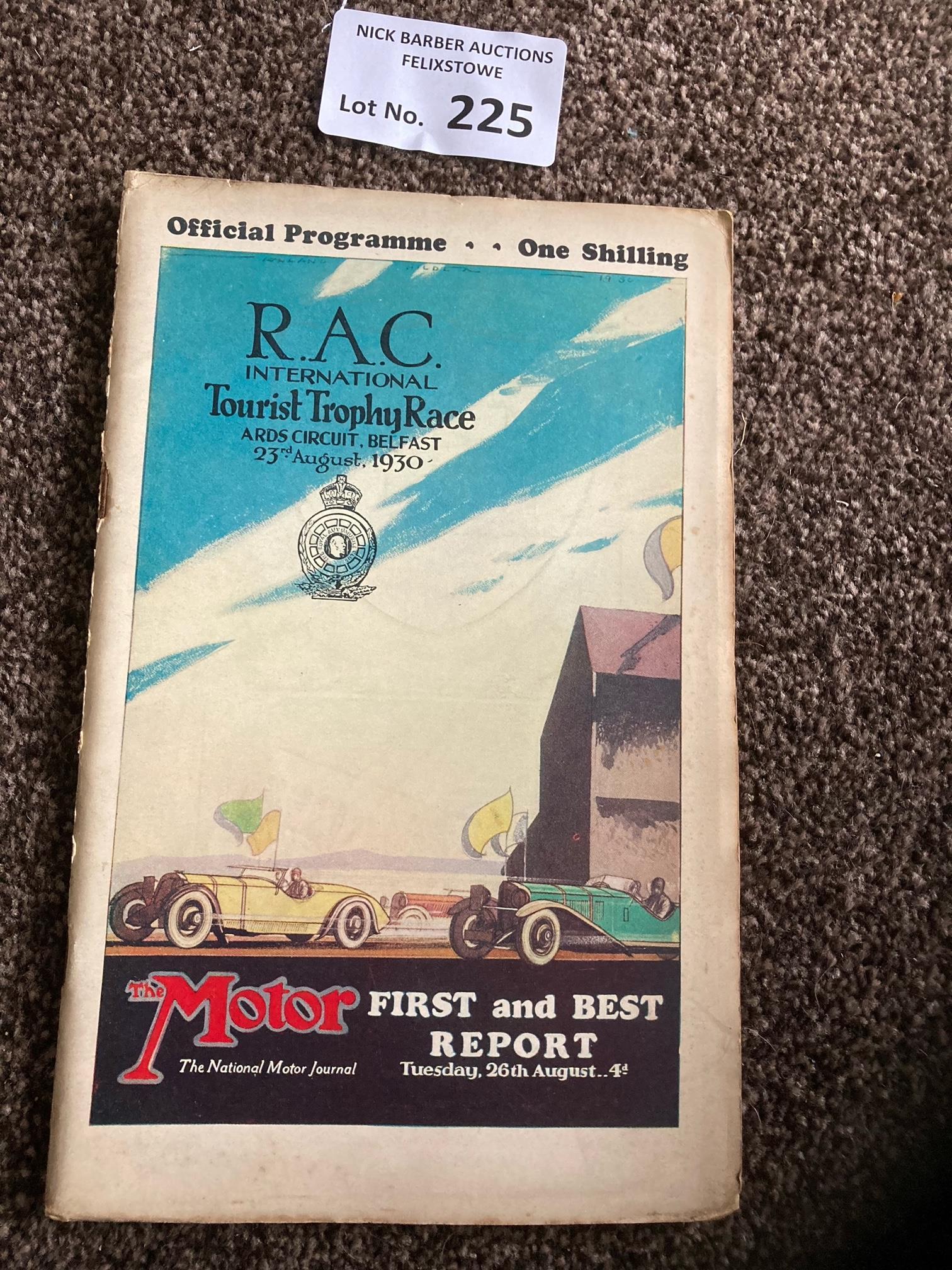 Motor Racing : RAC Intl Tourist Trophy Race progra