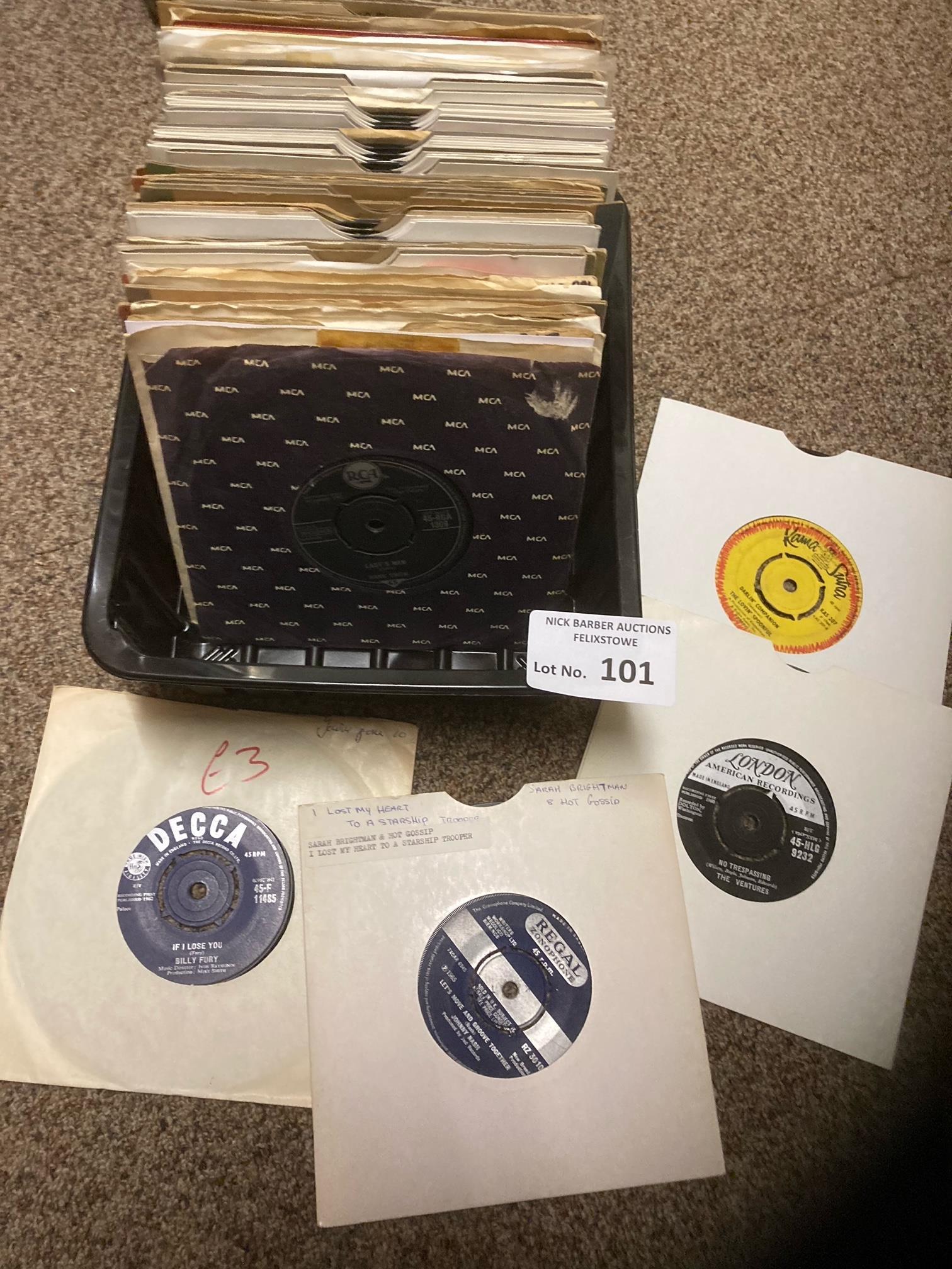 """Records : 70+ 1960's 7"""" singles inc Lovin Spoonful"""