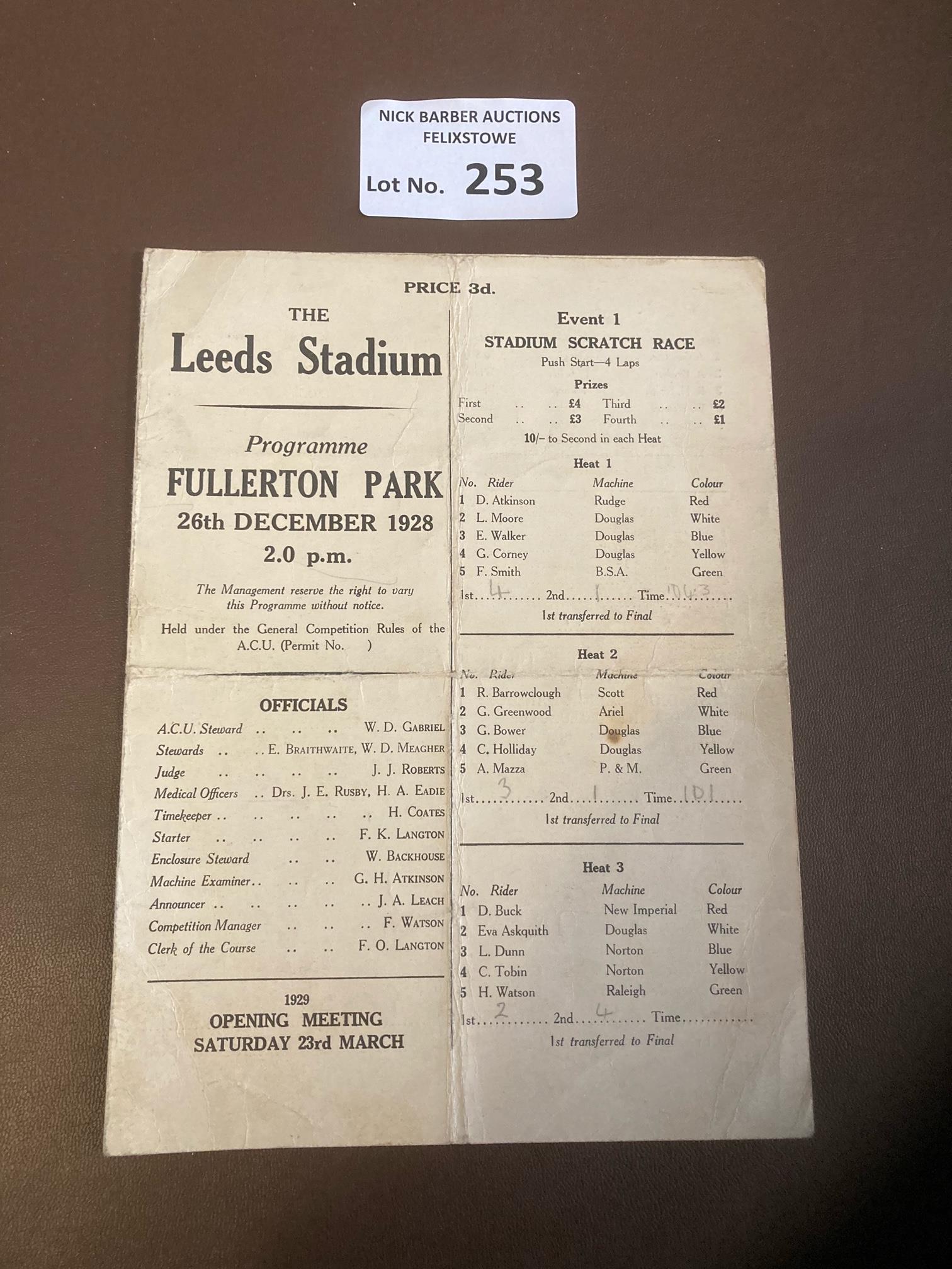 Speedway : Leeds - Fullerton Park Stadium - senior