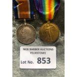 Militaria : WWI pair of medals to PRT W A Denton Q