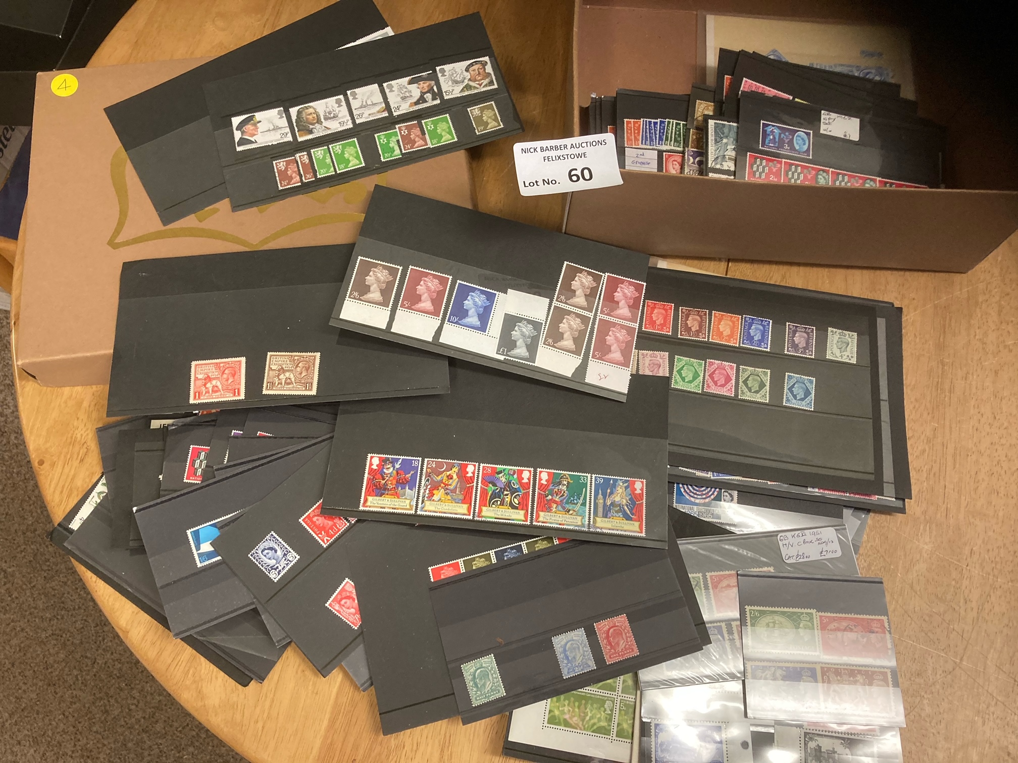 Stamps : Shoebox with 100 stock cards of GB stamps