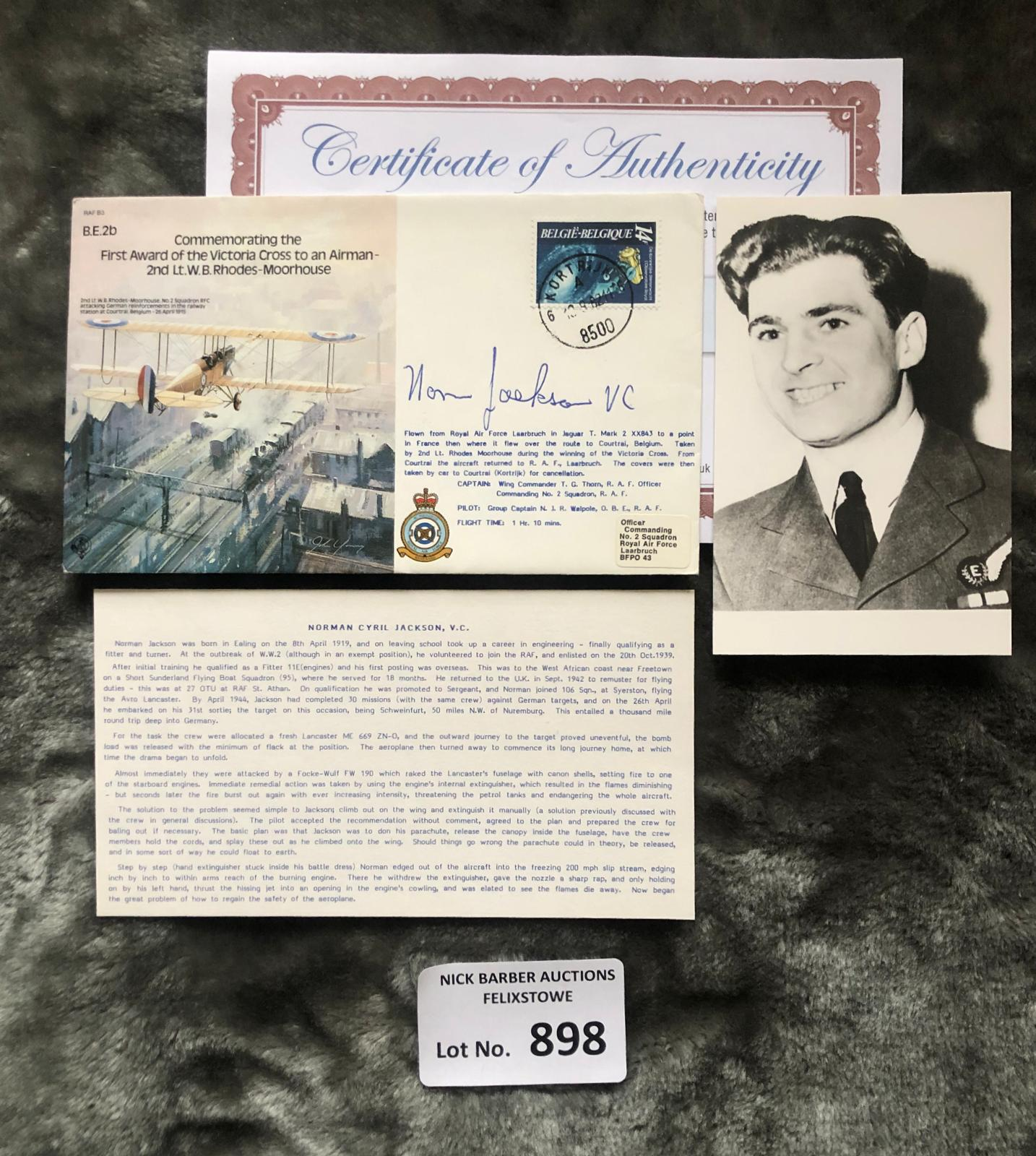 Militaria : Norman Jackson VC signed 1985 WWII bom