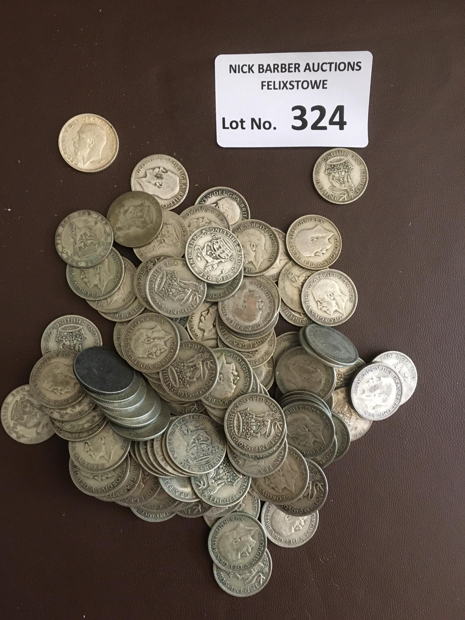 Coins : GB KGV silver shilling coins - varying con