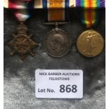 Militaria : WWI Trio of medals to DVR. E. Russell