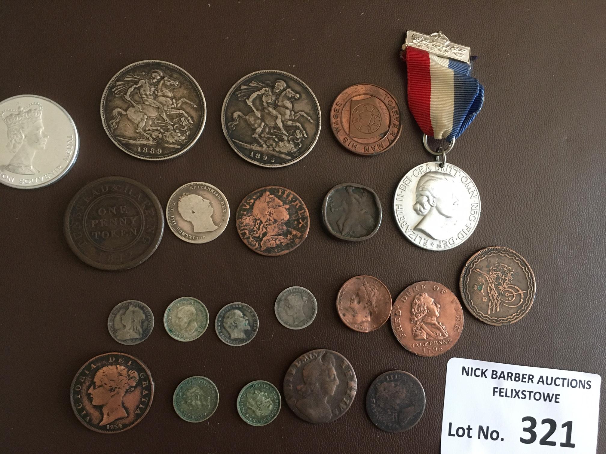 Coins : GB 1700s onward inc QV Crowns 1889 & 1893,