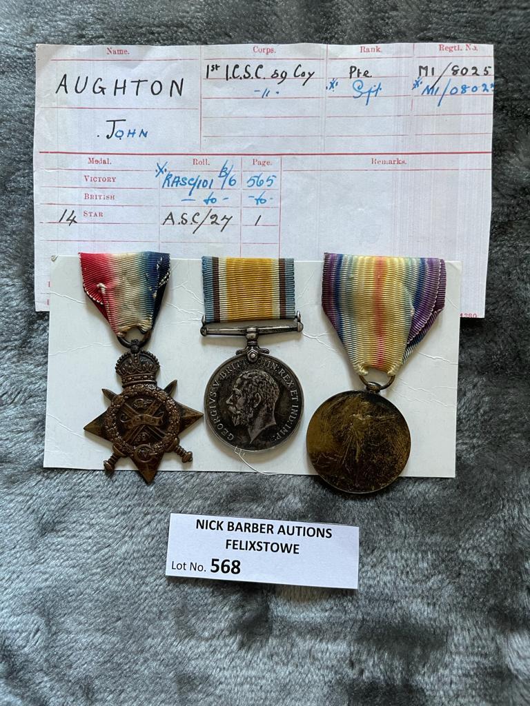 Militaria : 1914 Trios medal group to Pte. J Aughton AS