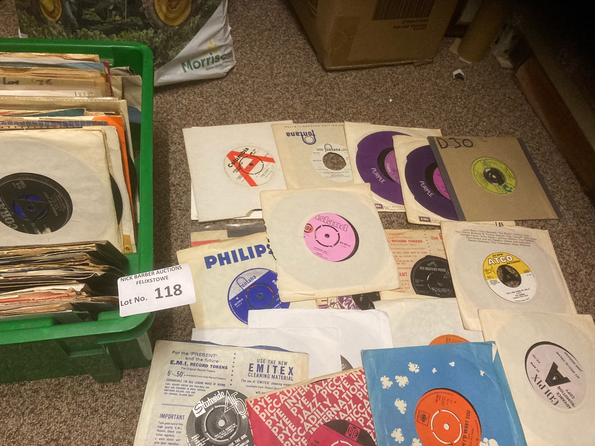 Records : Box of nice lot of 45's some demos inclu