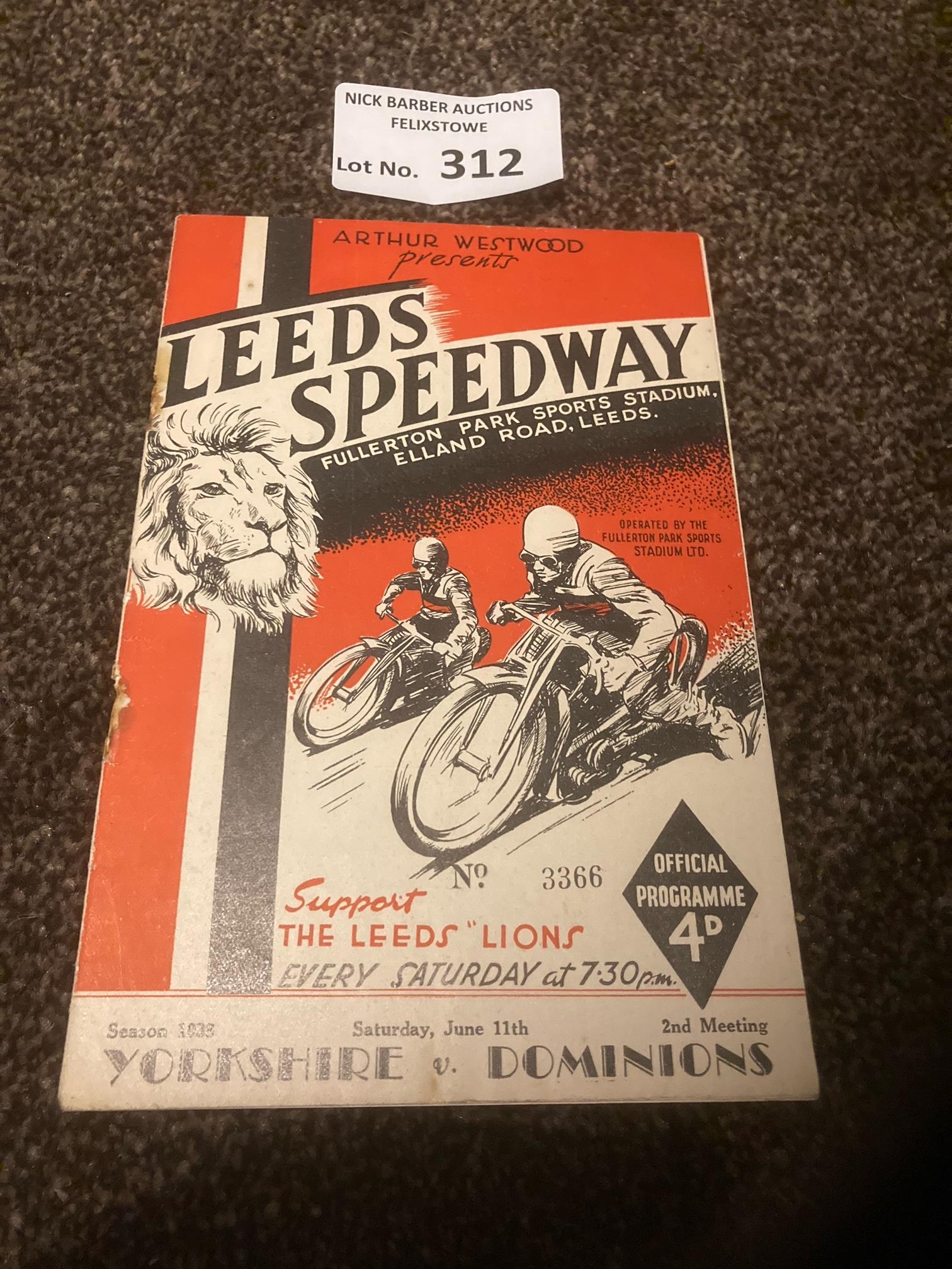 Speedway : Leeds - Yorkshire v Dominions programme
