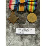 Militaria : 1914-15 Trios Medal group to Pte Suret