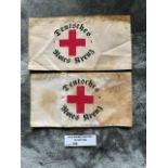 Militaria : 2 x German Red Cross Arm bands. Deutsc