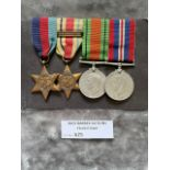 Militaria : 2nd WW Group of 4 mounted on bar for w