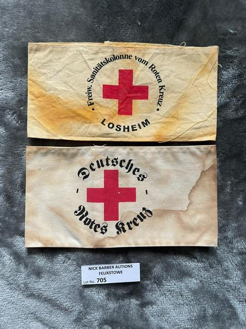 Militaria : 2 x German Red Cross Arm bands. Loshei