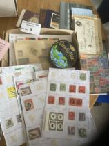 Stamps : Small glory box 100's of stamps, covers &