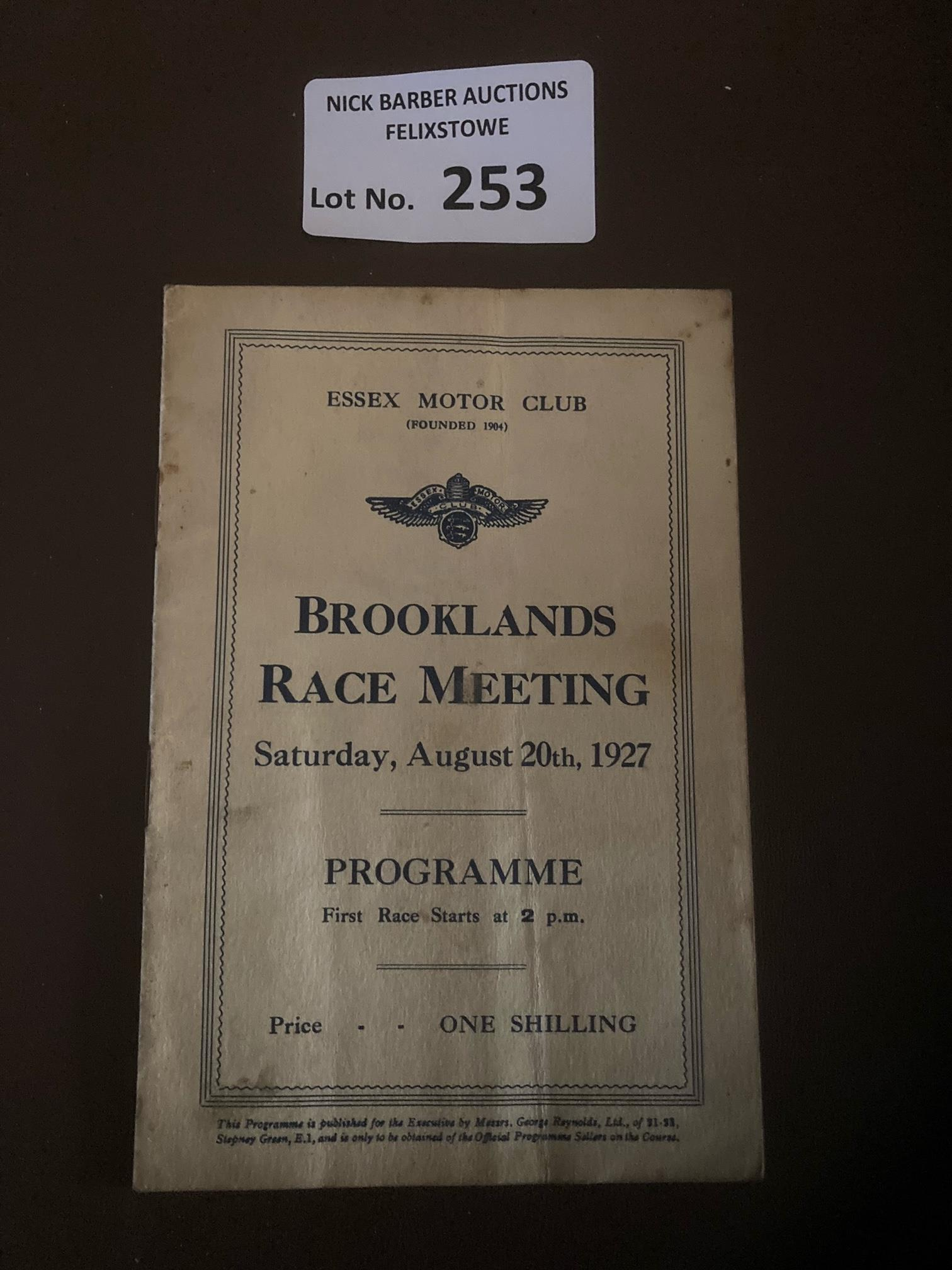 Motor Racing : Brooklands race meeting prog 20/08/