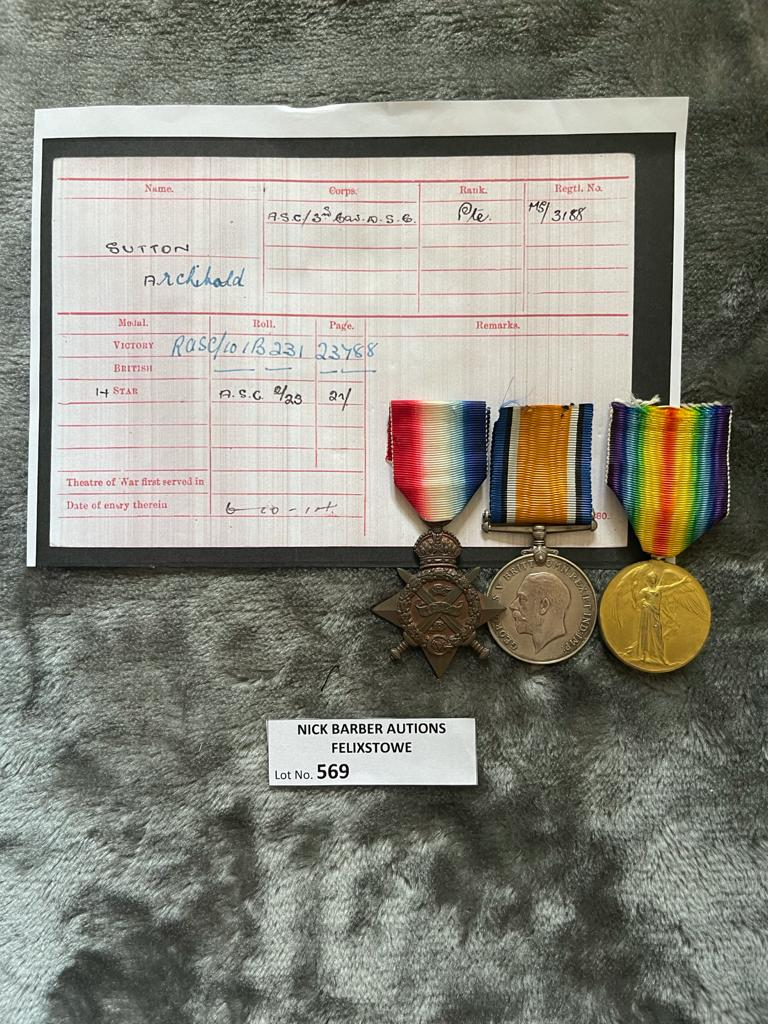 Militaria : 1914 Trio medal group to Pte A Sutt