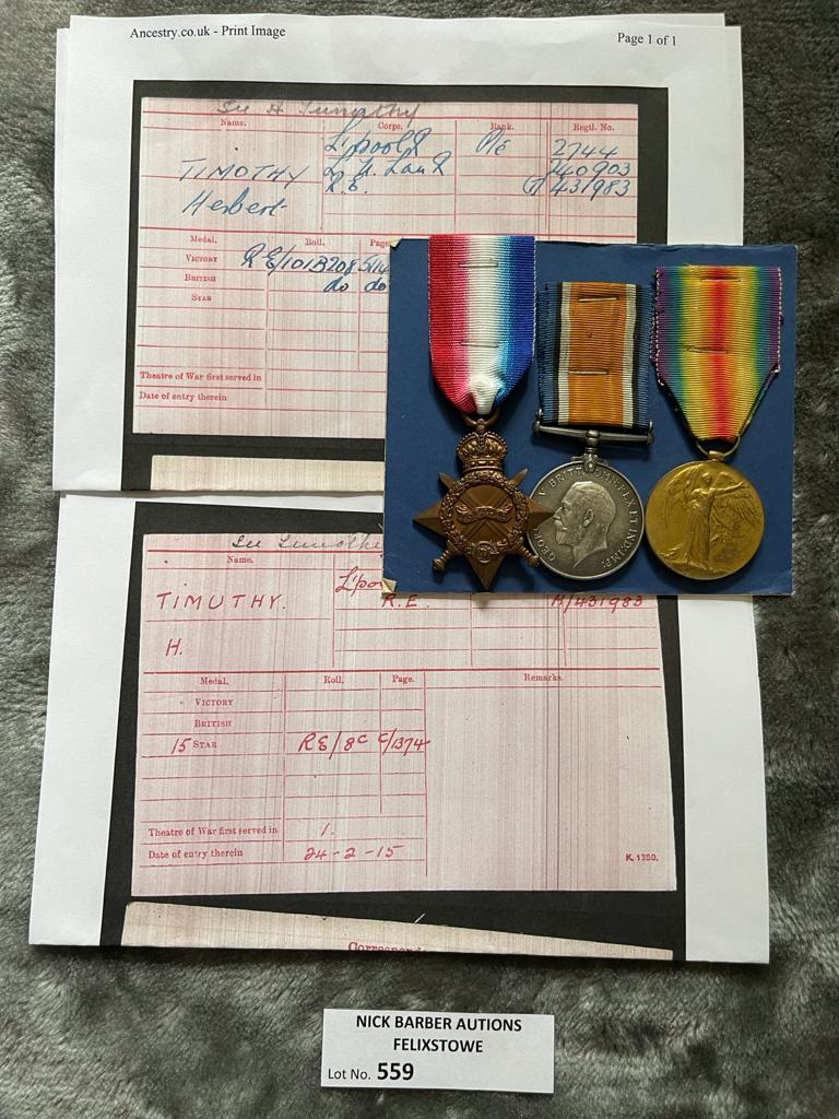 Militaria : Trios medal group to Pte. H. Timothy -