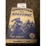Speedway : Birmingham v Leeds programme 31/08/1937