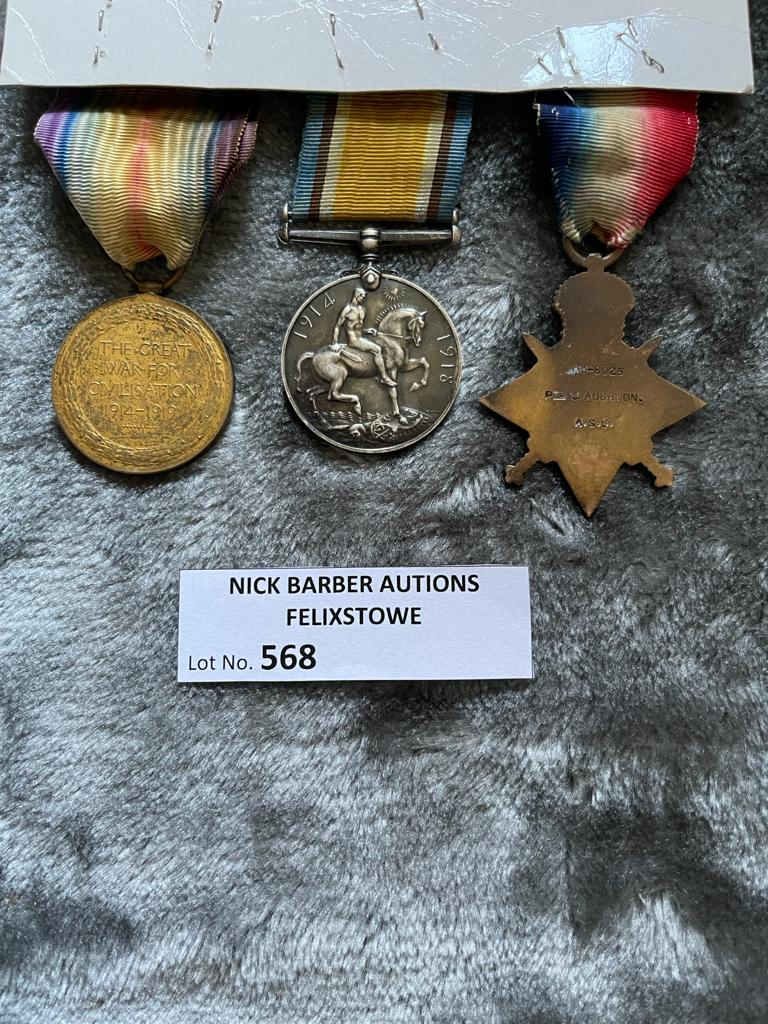 Militaria : 1914 Trios medal group to Pte. J Aughton AS - Image 2 of 2