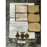 Militaria : 1914-15 Trios Medal group to Pte W Wat