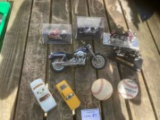 DIE CAST: Small collection of motorbike and cars.