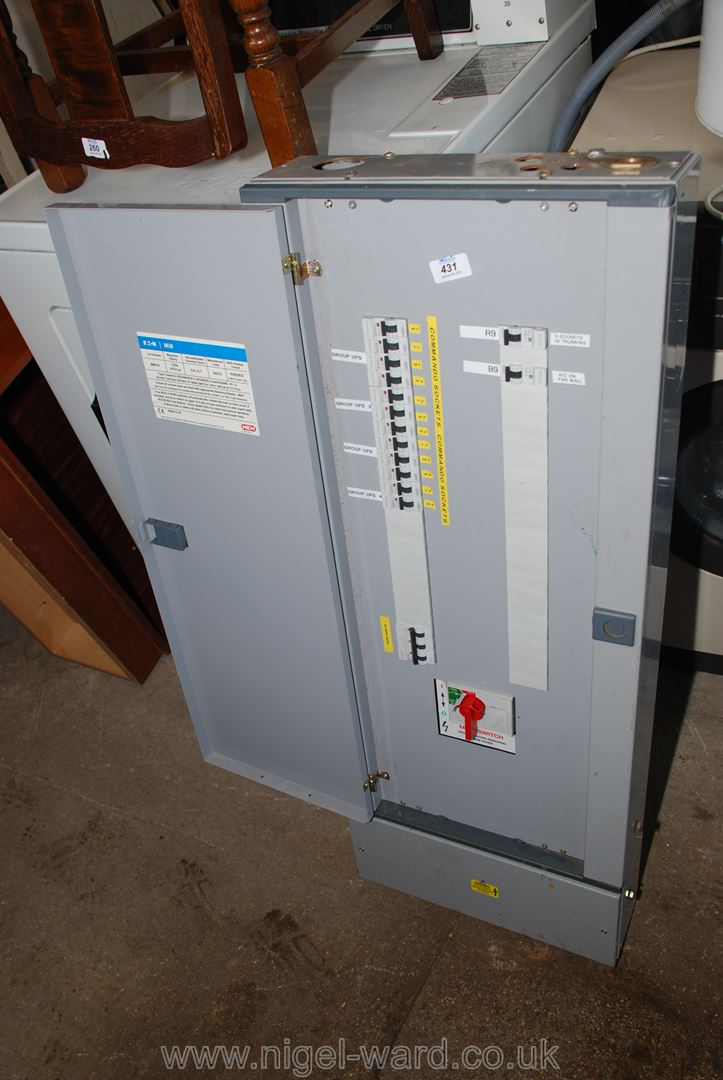 "An ""MEM"" shield 3 phase distribution board."