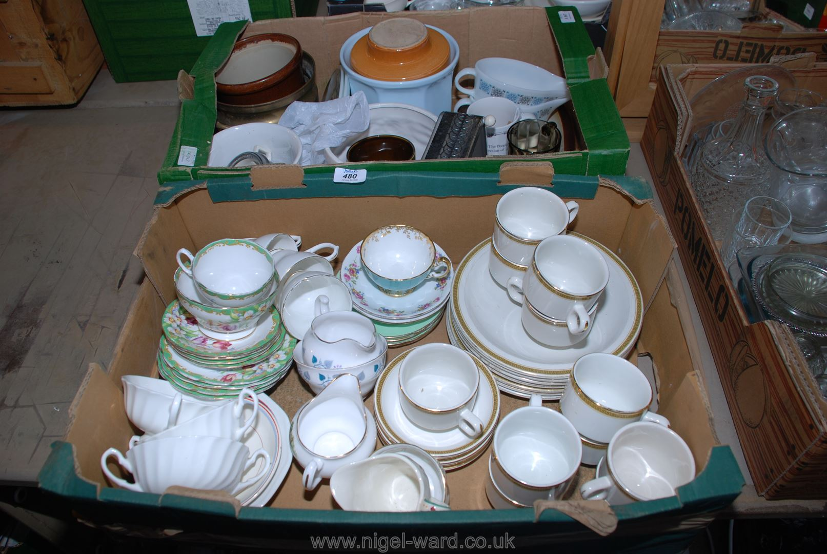 Two boxes of various dinner services, part sets, bowls, etc.