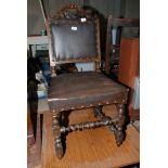 An Oak Barley-twist and turned leg hall chair, (repairs to rear legs).
