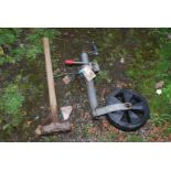 Trailer jockey wheel and sledge hammer
