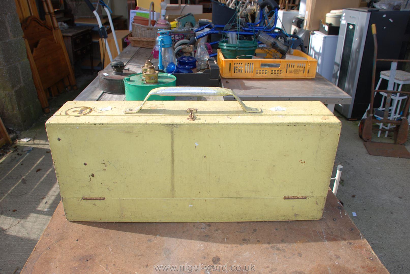 Carpenter's wooden toolbox