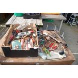 Box of various hammers, hand tools, rules,