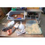 Tray of various saws, mirrors, rat traps etc.