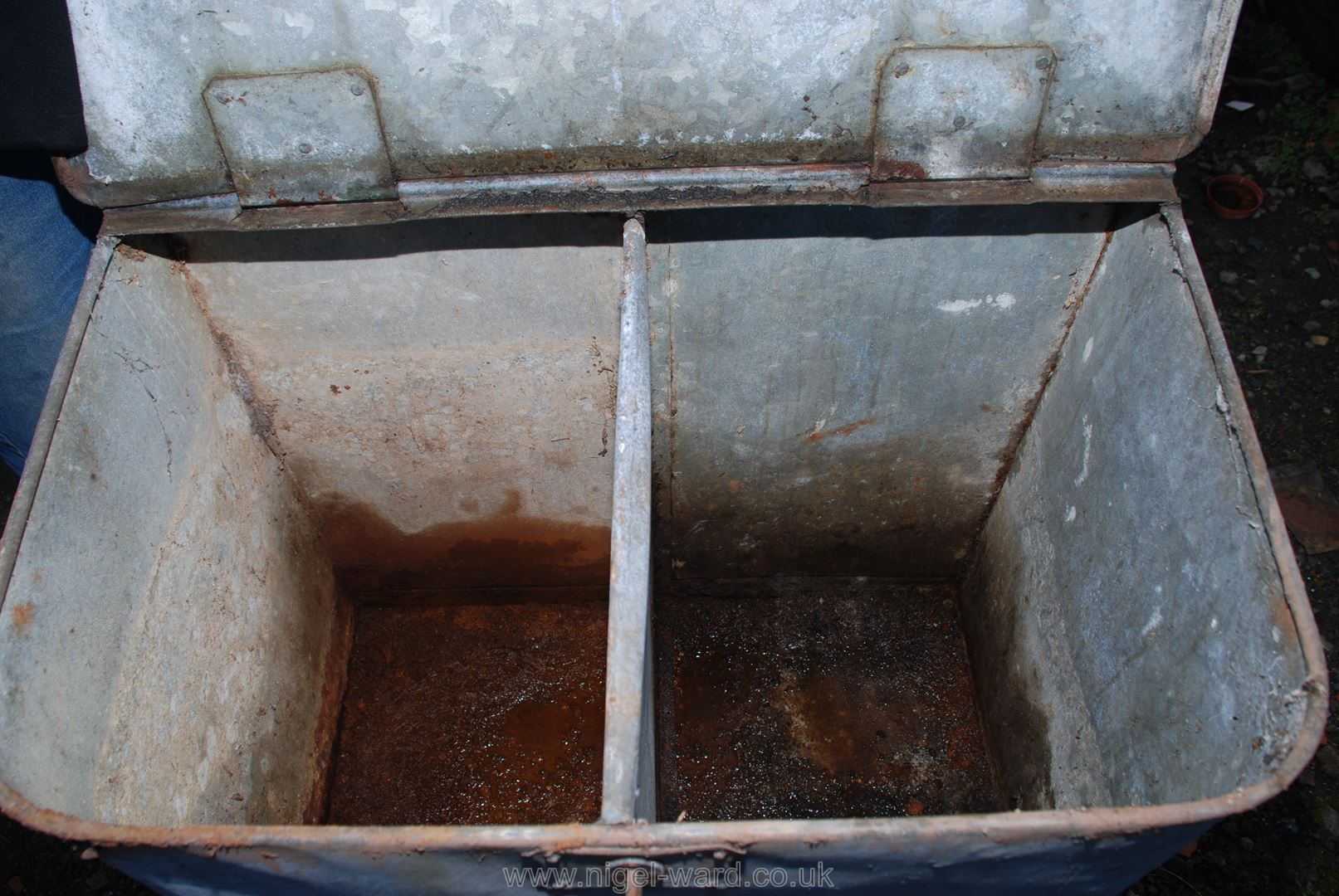 Metal feed bin with two sections. - Image 2 of 2