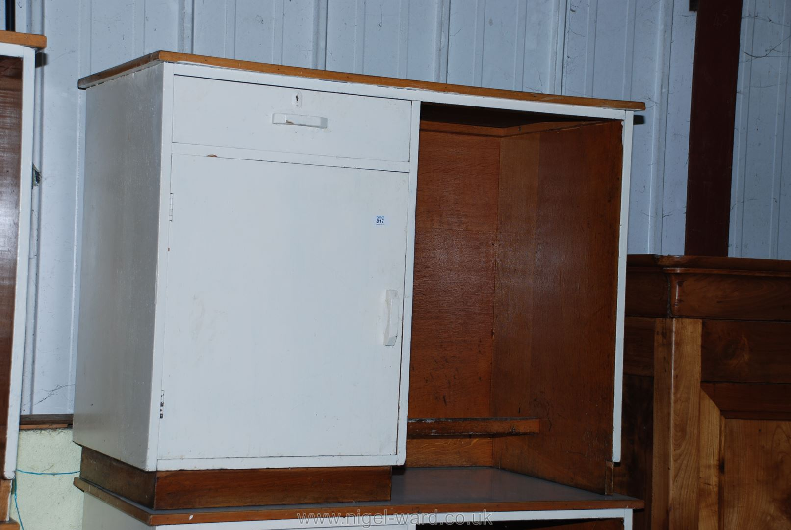"""A painted knee-hole desk with one drawer and a cupboard to one side, 42"""" x 21"""" x 34"""" high."""