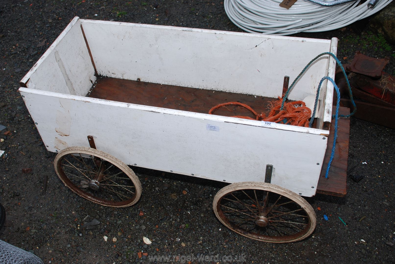 "A home-made trolley, 40"" x 20"" x 20"" high."