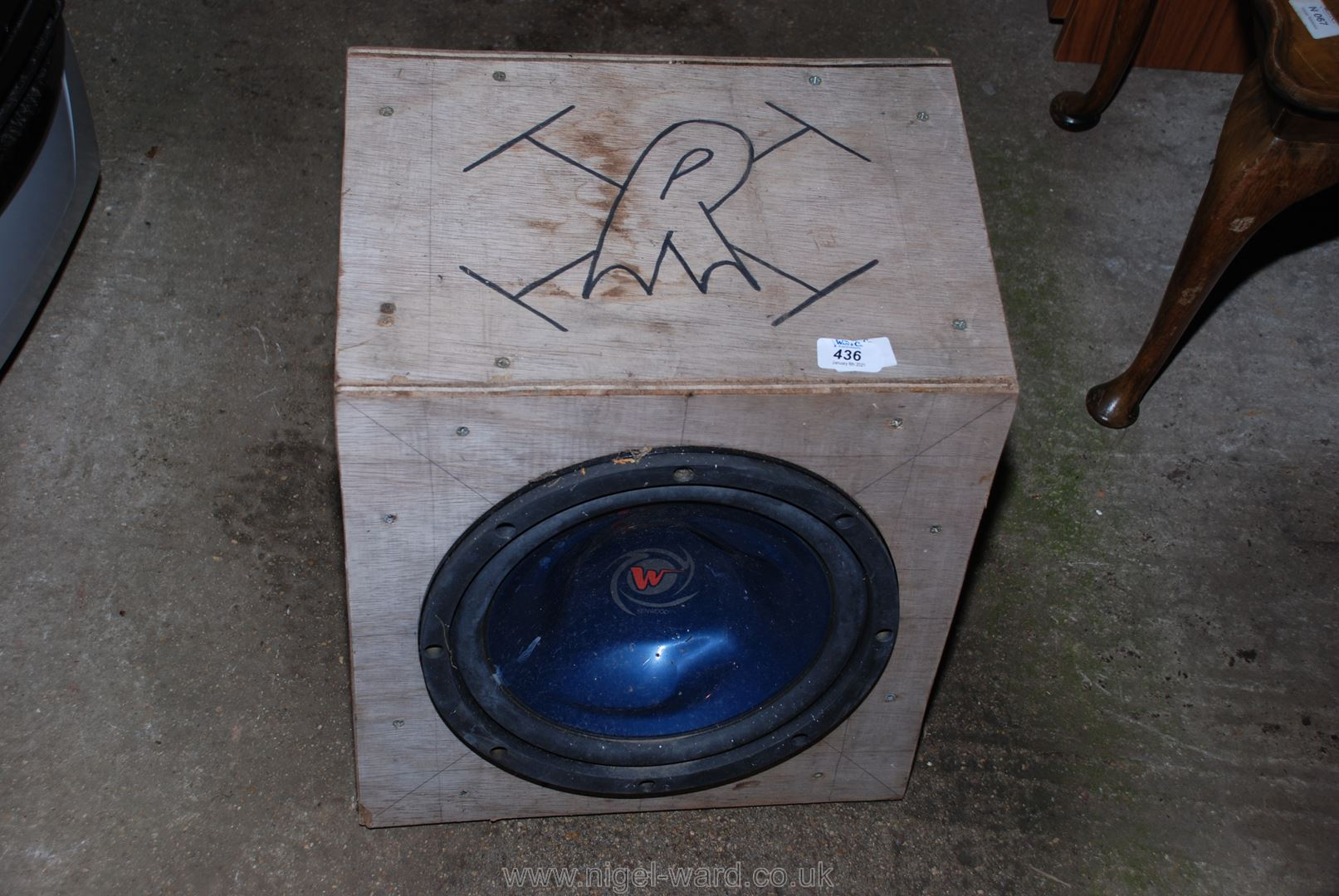 A plywood boxed speaker.