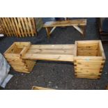 Garden seat planter 16'' square x 20'' high , overall width 66''.