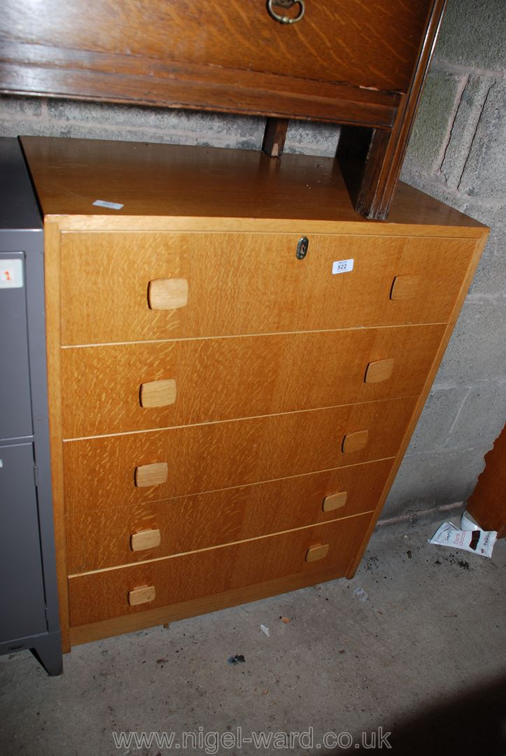 """A five-drawer """"Brynmawr Furniture"""" style chest of drawers with key, 30"""" x 18"""" deep x 39"""" high."""