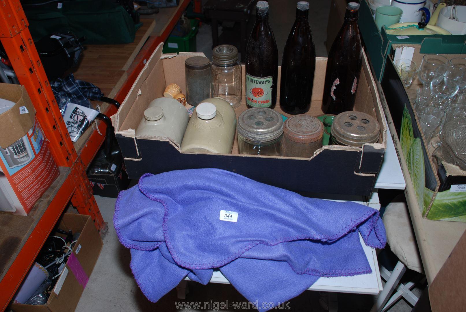 Storage jars, stoneware flasks, cider bottles, etc.
