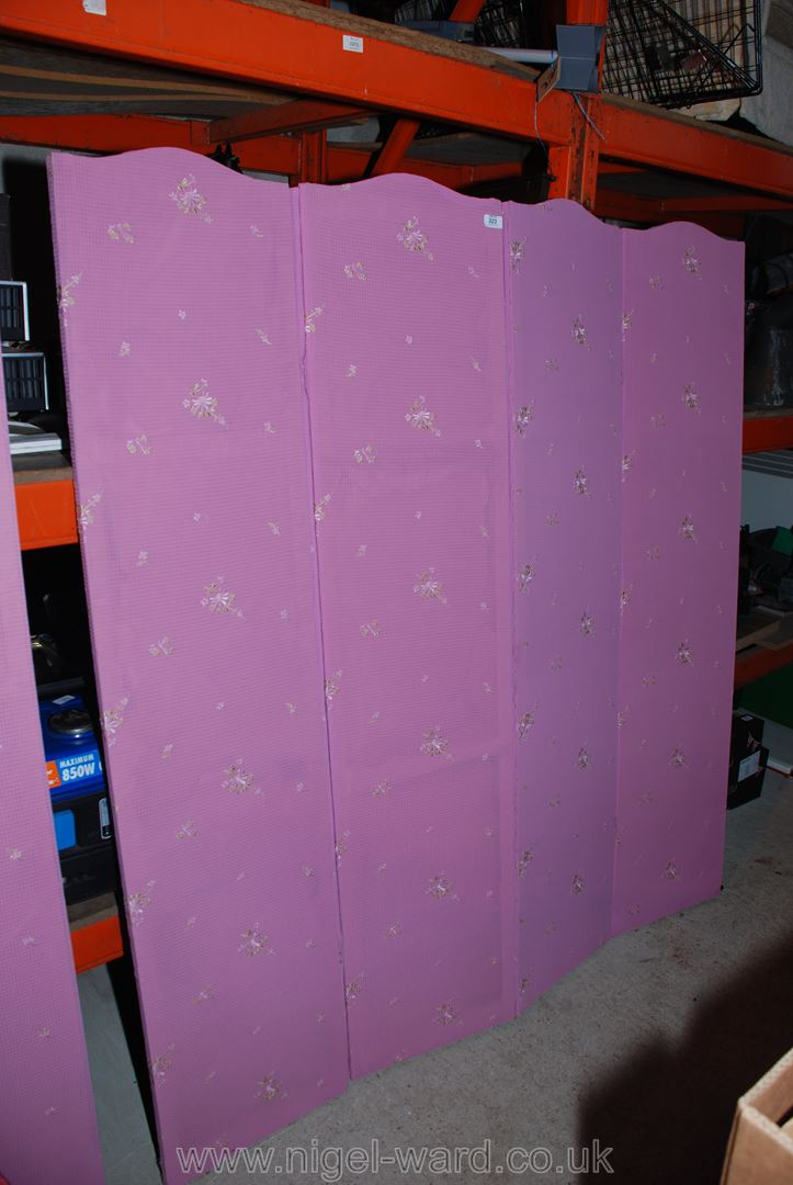 A three-fold dressing screen with scalloped top and pink ground floral decorated upholstery, - Image 2 of 2