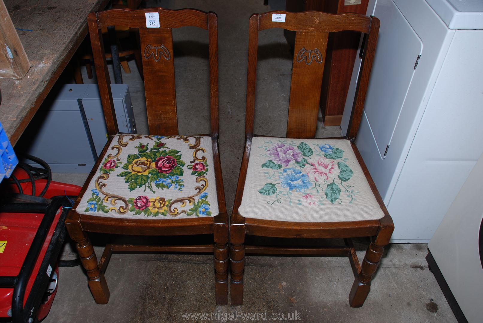 Pair of Oak dining chairs with floral tapestry covered seats.