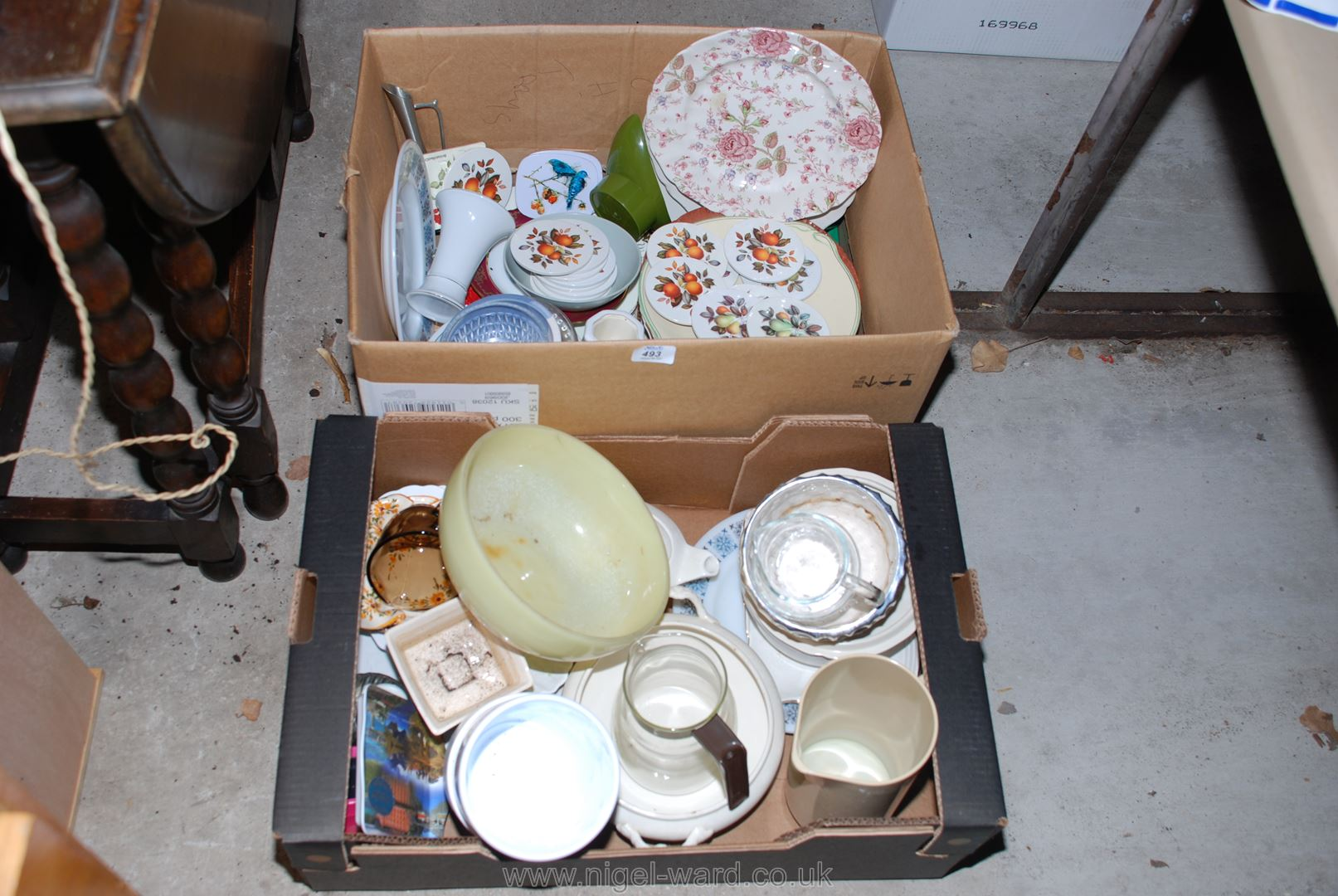 Two boxes of various dinner plates, bowls, jugs, etc.
