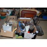 A large quantity of various cutlery, stainless steel ware, trays, etc.