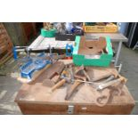 Box of various hammers, planes, files etc and a mitre saw.