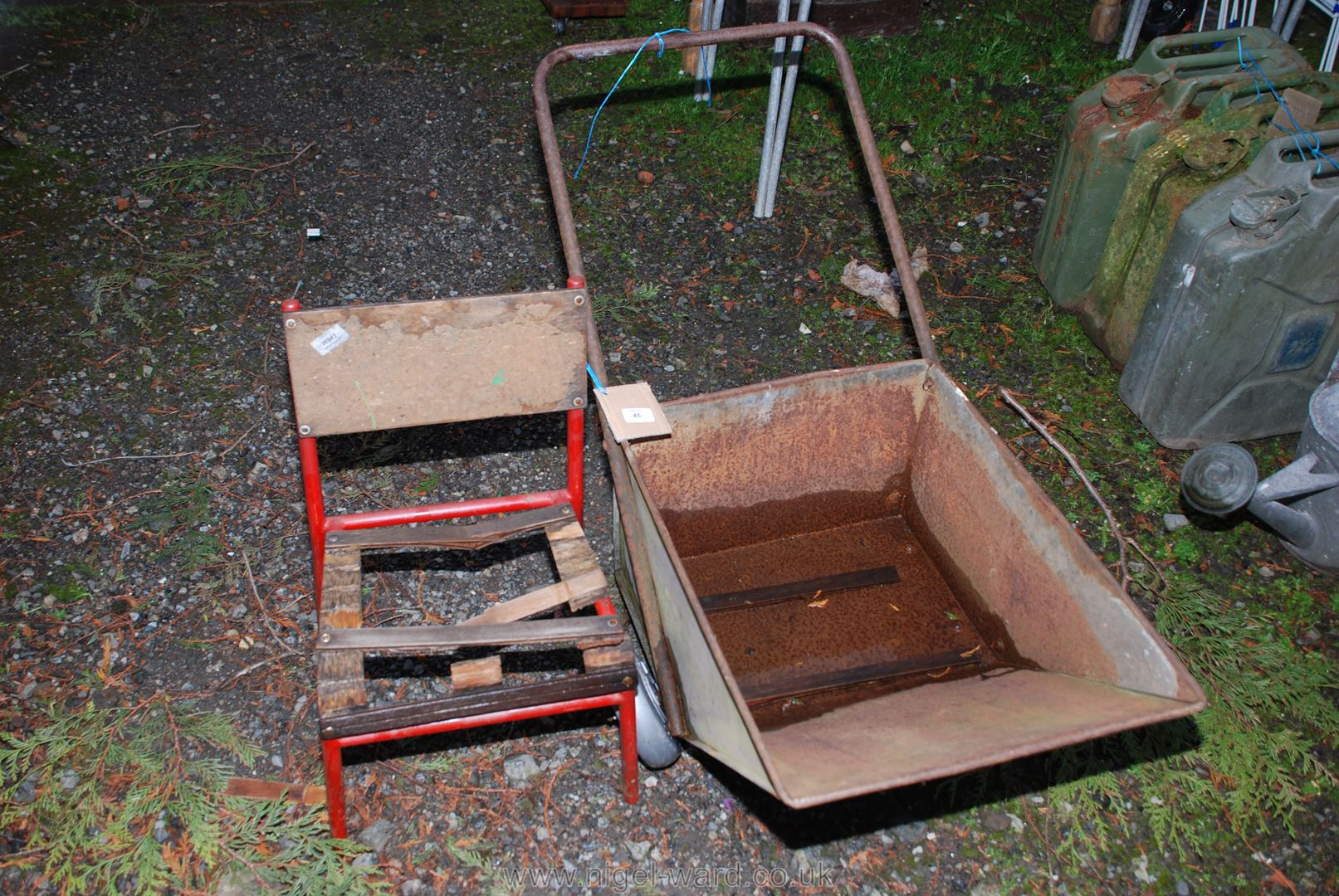 Metal garden wheelbarrow and metal child's chair, both a/f.