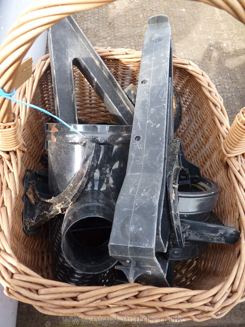 Section of 4'' soil pipe and a wicker basket of gutter fittings etc - Image 2 of 2